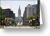 Cityhall Greeting Cards - Along the Parkway in Philadelphia Greeting Card by Bill Cannon