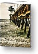 San Clemente Pier Greeting Cards - Along the Pier Greeting Card by Barbara Eads