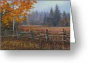 Split Rail Fence Painting Greeting Cards - Along the Stoney Batter Road Greeting Card by Richard De Wolfe