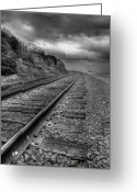 Railroad Tracks Greeting Cards - Along the Tracks Greeting Card by Peter Tellone