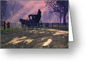 Carriage Greeting Cards - Along the Way Greeting Card by Dieter Carlton