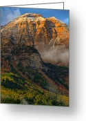 Forested Greeting Cards - Alpenglow on Mt. Timpanogos Greeting Card by Utah Images
