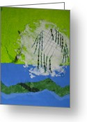 Lanscape Mixed Media Greeting Cards - Alpestrine Greeting Card by Ellen Miffitt