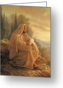 Contemplating Greeting Cards - Alpha and Omega Greeting Card by Greg Olsen