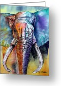 Animal Head Greeting Cards - Alpha Greeting Card by Maria Barry