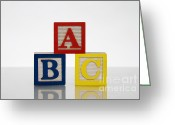 B Block Greeting Cards - Alphabet Blocks Greeting Card by Photo Researchers, Inc.