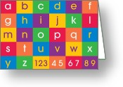 Canvas Greeting Cards - Alphabet Colors Greeting Card by Michael Tompsett