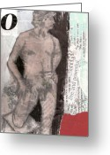 Nudes Mixed Media Greeting Cards - Alphabet nude O Greeting Card by Joanne Claxton