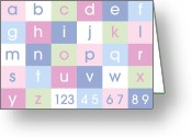Bedroom Greeting Cards - Alphabet Pastel Greeting Card by Michael Tompsett