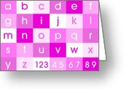 Canvas Greeting Cards - Alphabet Pink Greeting Card by Michael Tompsett