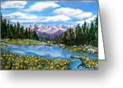 Pine Trees Painting Greeting Cards - Alpine Lake Colorado USA Greeting Card by Nancy Rucker