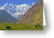 Snowcapped Greeting Cards - Alpine Valley In Central Asia Greeting Card by Tom Horton, Further To Fly Photography