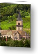 Mountain Vineyards Greeting Cards - Alsace Church Greeting Card by Brian Jannsen
