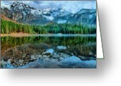 Snow Capped Digital Art Greeting Cards - Alta Lakes Reflection Greeting Card by Jeff Kolker
