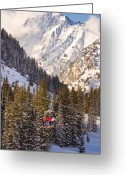 Winter Sports Photo Greeting Cards - Alta Ski Resort Wasatch Mts Utah Greeting Card by Utah Images