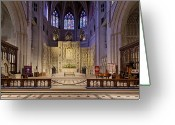 Washington Cathedral Greeting Cards - Alter at The Washington National Cathedral Greeting Card by Brendan Reals