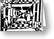 Learn To A Maze Greeting Cards - Alternate Book Cover Maze Greeting Card by Yonatan Frimer Maze Artist
