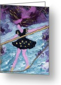 Survivor Art Greeting Cards - Althea Balances her Life After Chemo Greeting Card by Annette McElhiney