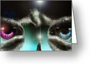 Eyes.fantasy Greeting Cards - Always Watching Greeting Card by Adam Vance