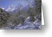 Rudi Prott Greeting Cards - Ama Dablam in Winter Greeting Card by Rudi Prott