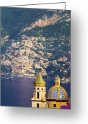 Tiled Roof Greeting Cards - Amalfi Coast Greeting Card by Brian Jannsen