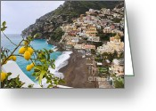 European Union Greeting Cards - Amalfi Coast Town Greeting Card by George Oze