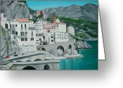 Buildings Painting Greeting Cards - Amalfi Greeting Card by Maria Arango