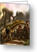 Dinosaurs Greeting Cards - Amargasaurus facing Carnotaurus Greeting Card by Kurt Miller