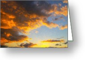 Sunset Drawings Greeting Cards - Amarillo Golden Sunset Greeting Card by Jeff Steed