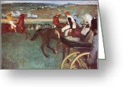 Horserace Greeting Cards - Amateur Jockeys on the Course Greeting Card by Edgar Degas