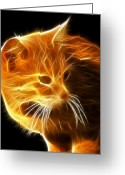 Kittens Digital Art Greeting Cards - Amazing Cat Portrait Greeting Card by Pamela Johnson