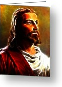 Good Friday Digital Art Greeting Cards - Amazing Jesus Portrait Greeting Card by Pamela Johnson