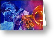 Music Icon Greeting Cards - Ambassador Of Jazz - Louis Armstrong Greeting Card by David Lloyd Glover
