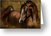 Wild Horse Drawings Greeting Cards - Amber  Greeting Card by Angel  Tarantella