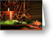 Asia Greeting Cards - Amber colored candles Greeting Card by Sandra Cunningham