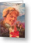 Lockheed Electra Greeting Cards - Amelia Earhart Greeting Card by Chuck Hamrick