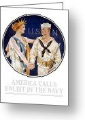 Military History Greeting Cards - America Calls Enlist In The Navy Greeting Card by War Is Hell Store