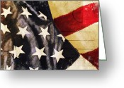 Old Paper Greeting Cards - America flag pattern postcard Greeting Card by Setsiri Silapasuwanchai