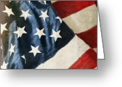 4th Photo Greeting Cards - America flag Greeting Card by Setsiri Silapasuwanchai