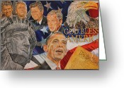 President Obama Greeting Cards - America In My Eyes Greeting Card by Alex Krasky