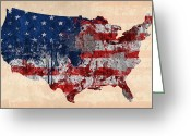 United States Map Greeting Cards - America Greeting Card by Mark Ashkenazi