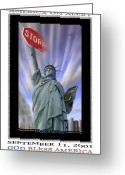 Twin Towers World Trade Center Greeting Cards - America On Alert II Greeting Card by Mike McGlothlen