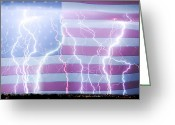 The Lightning Man Greeting Cards - America the Powerful Greeting Card by James Bo Insogna