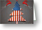 America Art Greeting Cards - America Xmas Tree Greeting Card by Atiketta Sangasaeng