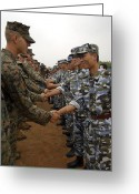 Handshake Greeting Cards - American And Chinese Marines Shake Greeting Card by Stocktrek Images