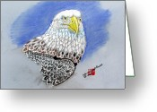 Eagle Pastels Greeting Cards - American Bald Eagle Greeting Card by Arlene  Wright-Correll