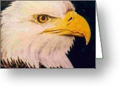 Wildlife Art Ceramics Greeting Cards - American Bald Eagle Greeting Card by Dy Witt