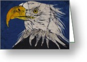 Patriotic Tapestries - Textiles Greeting Cards - American Bald Eagle Fine Art Batik Greeting Card by Kay Shaffer