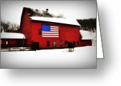 Red Barn Greeting Cards - American Barn Greeting Card by Bill Cannon