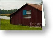 Flag Pyrography Greeting Cards - American Barn Greeting Card by Maureen Norcross